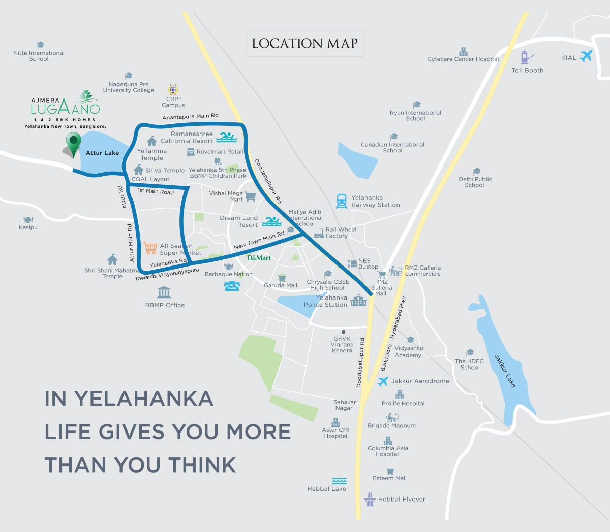 Ajmera Lugaano in Yelahanka - Map
